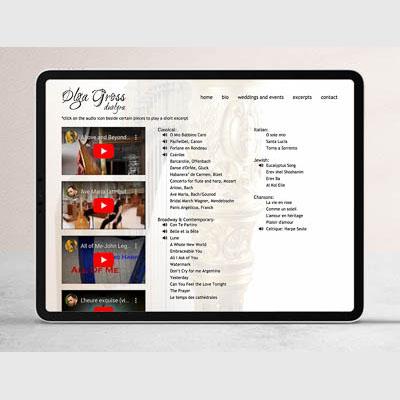 Website for duolyra, freelance musician