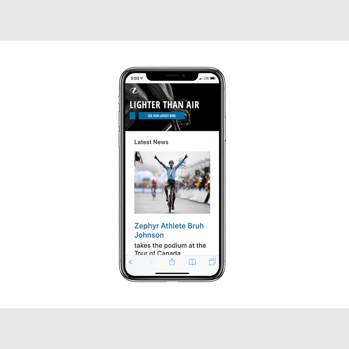 Wordpress website displayed on mobile