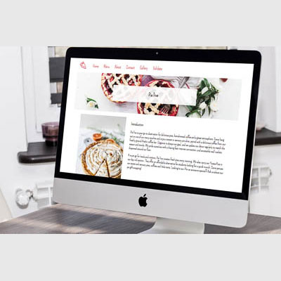 Piefive website for fictional pie company