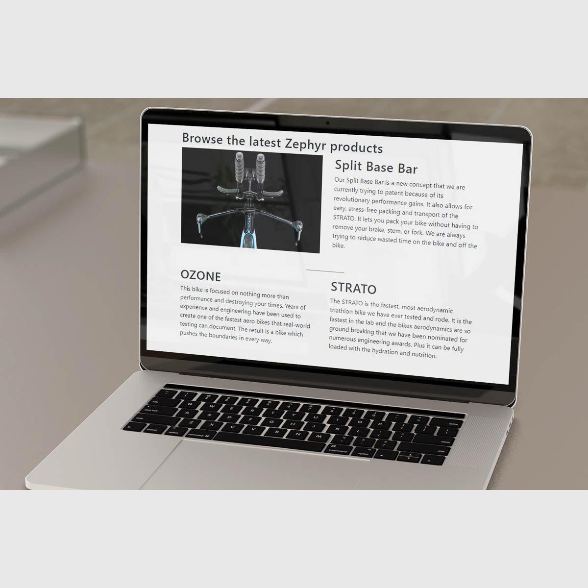 Wordpress website displayed on laptop